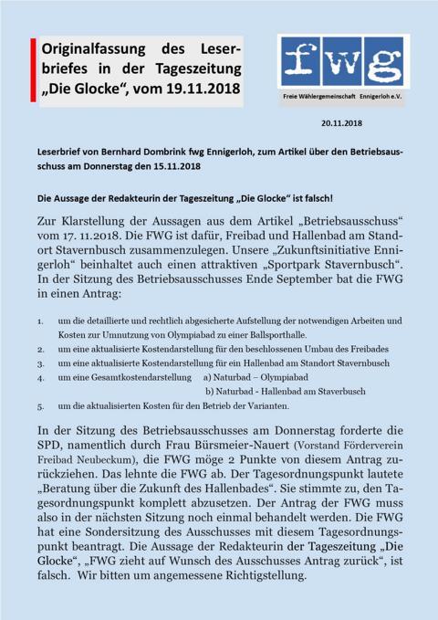 Leserbrief von Bernhard Dombrink fwg Ennigerloh, zum Artikel über den Betriebsausschuss am Donnerstag den 15.11.2018