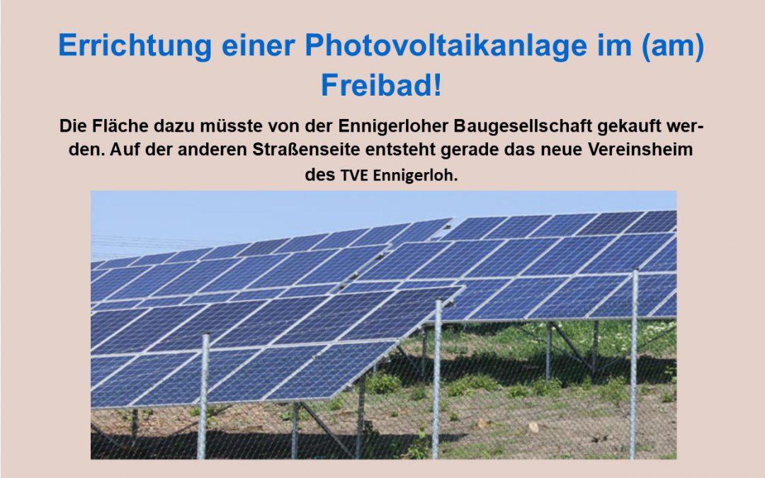 Fotovoltarik am Freibad im Stavernbusch!