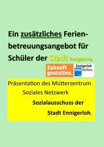 Ferienbetreuung der Schüler in Ennigerloh.  - Sommer 2020 -