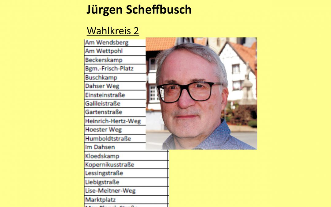 Kommunalwahl NRW 2020 Wahlkreis 2   Jürgen Scheffbusch