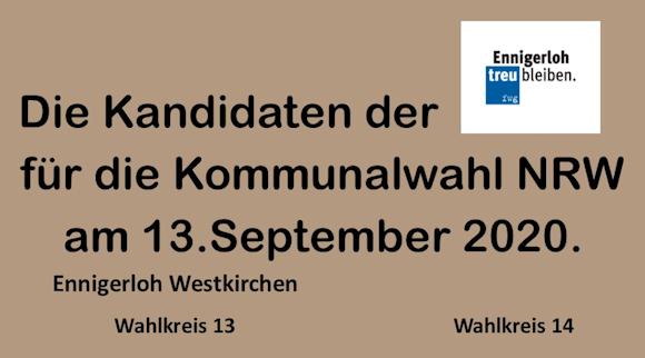 fwg- Kandidaten für die Wahlkreise 13 – 14 Ennigerloh – Westkirchen. Kommunalwahl 2020 NRW.