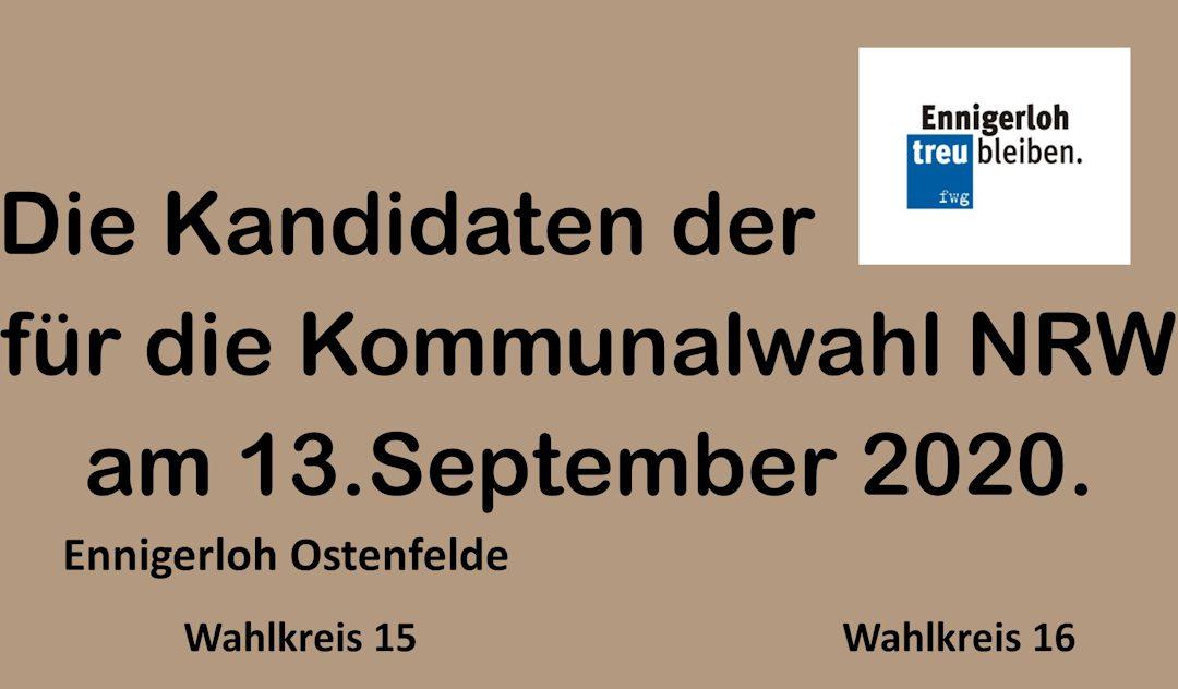 fwg- Kandidaten für die Wahlkreise 15 – 16 Ennigerloh – Ostenfelde. Kommunalwahl 2020 NRW.