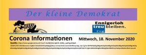 Corona Informationen Kreis Warendorf am Mittwoch, 18. November 2020