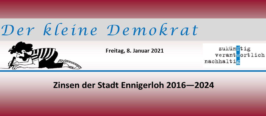 Zinsen der Stadt Ennigerloh für die Jahre 2016 bis 2024
