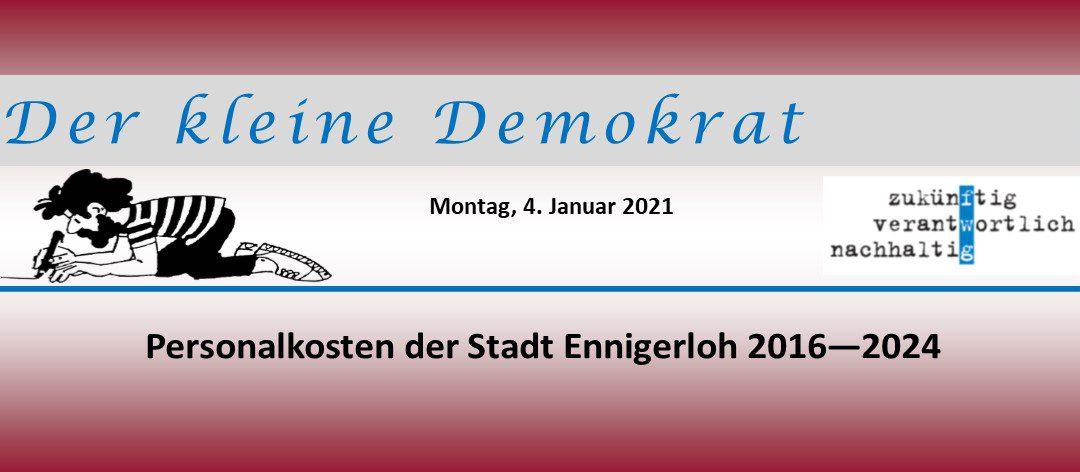 Entwicklung der Personalkosten der Stadt Ennigerloh 2016 – 2024
