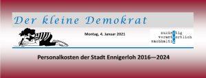 Entwicklung der Personalkosten der Stadt Ennigerloh 2016 - 2024