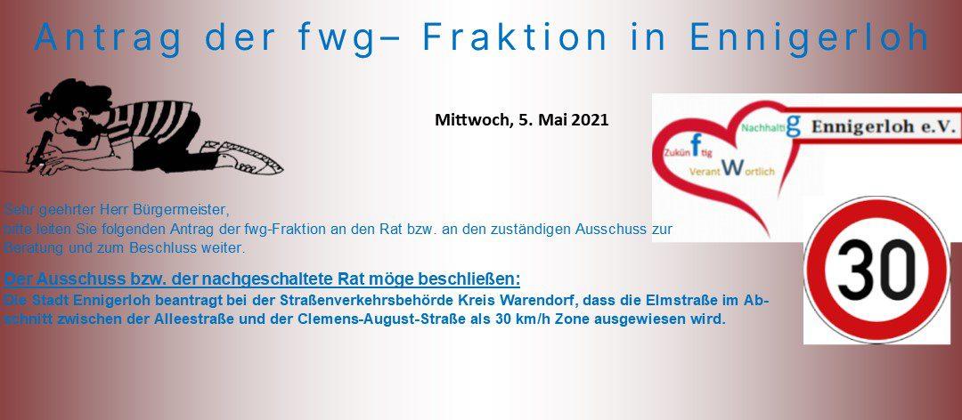30 km/h in der Elmstraße!